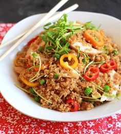 chicken + veggie fried quinoa | The Clever Carrot | Use Gluten Free Soy Sauce, Tamari, or Liquid Aminos to make this Gluten Free. Egg Free & Dairy Free.
