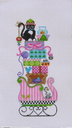 Cat on Sleigh by Painted Pony $72.60 18 count mesh