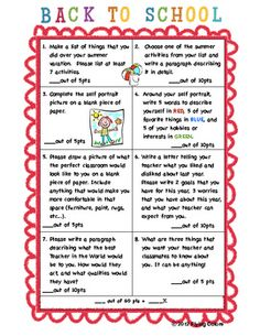 Back to School Writing Contract- 8 activities with rubric - great to keep them busy those first few days!