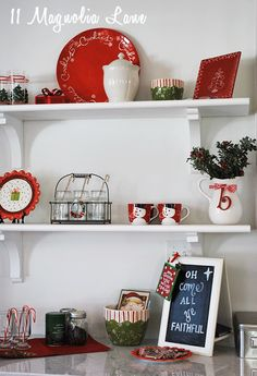 Holiday decor on open shelves in the kitchen