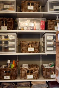 Baskets in bathroom closet for guest towels- so you can easily move them to the guest room. Organizing Bathroom Closet, Bathroom Closet Organization, Bathroom Organisation, Basket, Organize Bathroom Closet, Linen Closets, Organized Bathroom Closet