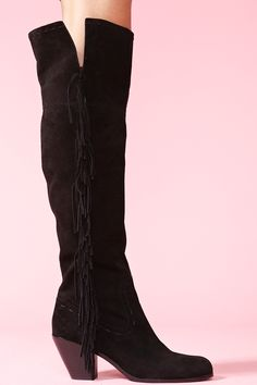 $290.00  Awesome black suede thigh-high boots featuring stitching and fringe detailing. Stacked wooden heel, side zip closure. Fully lined. Beyond amazing with a lace dress and wide-brim hat! By Sam Edelman.