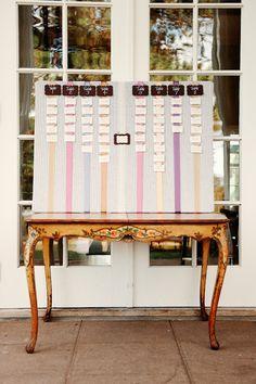 DIY ribbon seating chart.