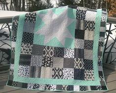 Modern Quilt  Black & White Patchwork Star by LakeOneStitchery, $250.00