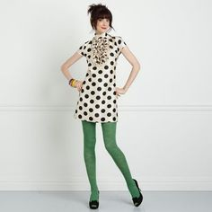 green tights with black/white dots.