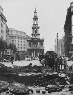 London, 1940: Bomb damage in The Strand resulting from a German air raid. The view is looking towards St Mary le Strand church. (Photo by Keystone-France/Gamma-Keystone via Getty Images)