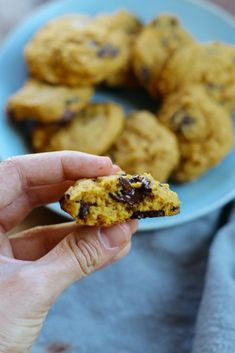 These Pumpkin Chocolate Chip Cookies are the best fall dessert ever...made healthier by using applesauce, whole wheat flour and organic cane sugar! | Cookie Recipes | Fall Cookies | Fall Desserts | #cookies #pumpkin #desserts #fall #feelgoodfoodie via @feelgoodfoodie1