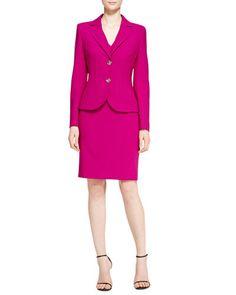 -516E Escada Vertical Welt Two-Button Blazer & V-Neck Dress