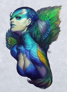"""""""Peacock Queen"""" by Artgerm.deviantart.com on #deviantART"""