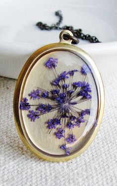 Pressed Purple Queen Anne's Lace Flower Necklace necklac