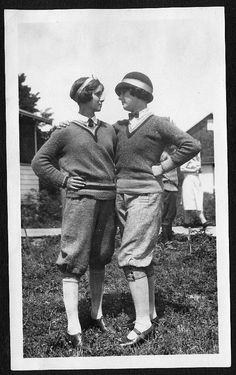 Helen Richey - first commercial female airline pilot in US (on right).   1920s women in menswear style fashions.