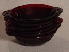 6 Coronation sm berry bowls Hocking Glass ruby red Depression Glass 2 handles