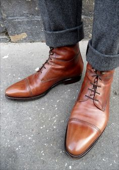 Men's brown leather boots - Click on image to visit www.pooz.com