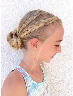 Braided Fishtail Combo into a messy bun