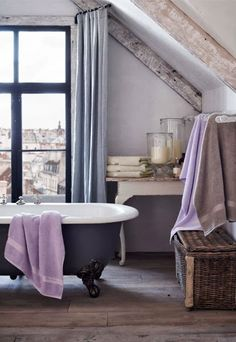 "Ralph Lauren Home Archives, ""Ile Saint-Louis"", Bathroom, 2014; ""The unassuming, bohemian elegance of Ile Saint-Louis charms with a mix of vintage-inspired and industrial designs softened by a muted lilac, cypress and oyster palette."""