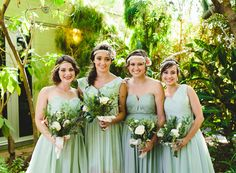 seafoam bridesmaid dresses, photo by Kym Ventola Photography http://ruffledblog.com/elysian-los-angeles-wedding #bridesmaidsdresses #bridesmaids