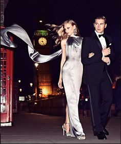 In Harper's Bazaar this month, Downton Abbey actor Allen Leech wears Ralph Lauren Purple Label and Anna Selezneva wears Look 36 from the Fall 2014 Ralph Lauren Collection, which is inspired by architectural shapes in soft, shimmering hues.