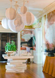 watercolor wallpaper and floating globe pendants... Wendy Schwartz Design