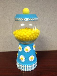 My Daisy Candy Dish-These make great gifts!!! Made with a clay pot-glass bowl-wooden knob-paint and stickers