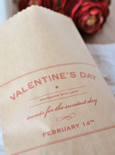 Valentines Sweets bag. Free printable. Could also make labels with it