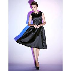 A-line Scoop Knee-length Satin Cocktail Dress – USD $ 99.99
