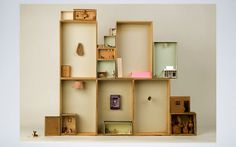 Dolls House out of vintage wooden boxes by Lucy May Schofield