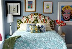 cover a headboard with a colorful fabric.
