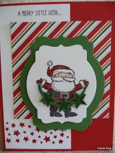 Joyful Santa by Carrie King, I hand cut the star banner stamped in Memento Black ink on Garden Green cardstock.: Blendabilities, Border, Confetti,  Punch, Stars, Get Your Santa On,