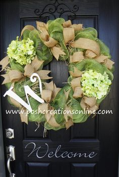 Spring Green, Spring Wreath,  Summer Mesh Wreath, Burlap Wreath, Deco Mesh Wreath, Summer Wreath, Custom initial Monogram. $95.00, via Etsy.