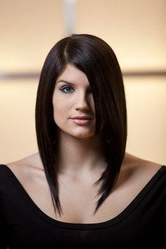 Stylist Adrianne Johnston's stunning, asymmetrical bob on model Ally—full video on our blog: http://ow.ly/4f81G