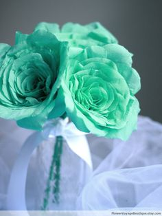Mint Green Flowers for Centerpieces | Seafoam mint green paper flowers roses. Bride Bridesmaid bouquet ...