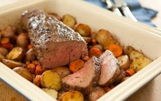 Roasted Beef Tenderloin // This elegant, simple preparation for beef tenderloin is a classic. To serve a larger crowd, simply double the oil-herb rub and roast an entire beef tenderloin (3 1/2 to 4 lbs.), cut crosswise into two pieces.