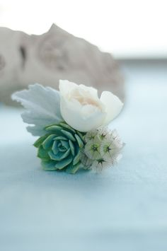 boutonniere from an aqua seaside wedding - La Jolla Beach Wedding