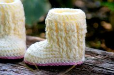 Baby Shoe Crochet Pattern for Baby Cable Boots ♥ by TwoGirlsPatterns, $5.50