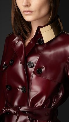 Metal Plate Rubber Trench Coat Burberry
