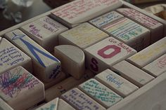 Have birthday party guest write messages to the birthday boy/girl on wooden blocks.
