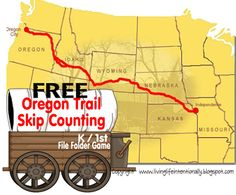 free Oregon Trail Skip Counting File Folder Game for hands on #history fun with math games for #homeschoolers