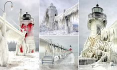 Frozen in time: Michigan lighthouses transformed into stunning giant icicles after being frozen solid by storm