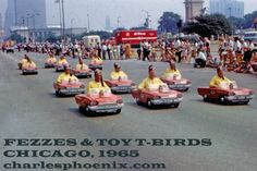 How much do we love it when a dozen Shriners don their fezzes, dress up in uniform yellow shirts and bolo ties and then cram themselves into matching mini 1965 Thunderbirds and parade down the avenue?!