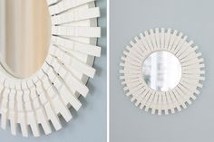 DIY - Striking mirror created using wooden clothes pegs!
