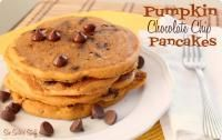 Pumpkin Chocolate Chip Pancakes Recipe on MyRecipeMagic.com.  Our kids absolutely love these! #pancakes #pumpkin #chocolatechip
