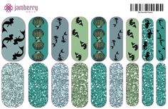 Contact me for this design or help to create your own individualized Jamberry nail wraps! http://BlissNails.jamberrynails.net/NAS #Jamberry #NAS #NailArtStudio #wraps #nails #prom  #wedding #bridesmaids #water #mermaids