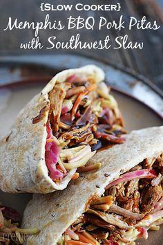 {Slow Cooker} BBQ Pork Pitas with Southwest Slaw
