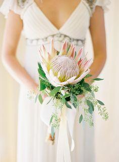 king protea bridal bouquet | photo: Jose Villa