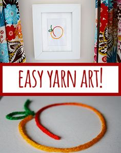 Easy, inexpensive way to add art to your walls: simple yarn art craft idea