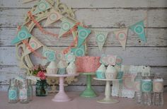 Shabby Chic Green Turquoise Pink Girly Polka by StyleMeShabbyChic, $12.50
