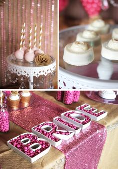 Trend Alert: Rustic Glam Pink & Gold Dessert Table featuring glittered cake pops and chocolate covered oreos by @Autumn Lynn's Chocolate Sins
