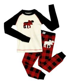 Take a look at this Black Moose Raglan Pajama Set - Toddler & Kids by Lazy One on #zulily today!