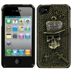 """Diamond Skull"" iPhone 4 Case #InkedShop #skull #tophat #iphonecase #Phonecase #case"