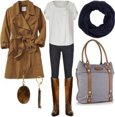 """fall - white, navy, brown"" by lulums on Polyvore"
